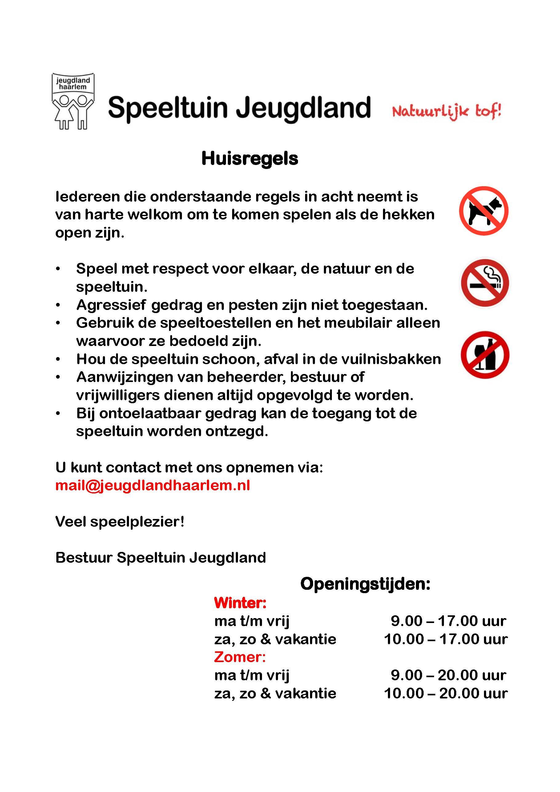 huisregels Speeltuin Jeugdland Haarlem